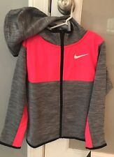 Nike Girls Therma Dri-Fit Full Zip Hooded Jacket Grey Heather Pink Size 6 NWT