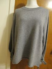 Bloomingdale's Women's gray state 2 Ply Cashmere Detailed Sweater Sz XL  NWT