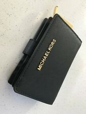 Michael Kors Jet Set Travel MD Bifold Zip Coin Wallet Black Saffiano Leather