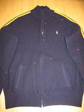 Ralph Lauren Polo Navy Blue Wool Track Jacket w/ Yellow Stripes, Men M, Medium