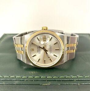 Rolex Datejust OysterQuatrz 14k Stainless Watch 17013 36mm Silver NOT Working