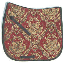 Beautiful Tapestry  RED WITH GOLD CHENILLE BROCADE BAROQUE DRESSAGE SADDLE PAD