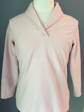 D & Co. Long Sleeve Pink Fleece Pullover Top Wrap Neck Size Small