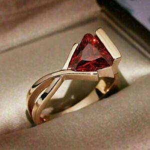 2 Ct Trillion Cut Red Garnet Women's Engagement Unique Ring 14K Rose Gold Finish