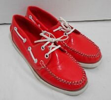 Carrini Red Patent Leather Boat Deck Shoes Lace Loafers Casual Women Size 7