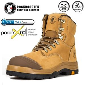 ROCKROOSTER Men's Work Boots Safety Steel Toecap Water Resistant Lace-Up Boots