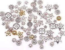 50g (About 150pcs) Mixed Shapes Silver/Golden Tibetan Silver Flower Bead Caps