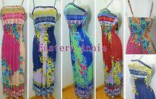 New Women Summer Floral Pattern Full-Length Beach Sundress Maxi Evening Dress
