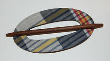 VINTAGE PLAID FABRIC LEATHER STICK BARRETTE HAIR ACCESSORY DEAD STOCK 1970s OVAL