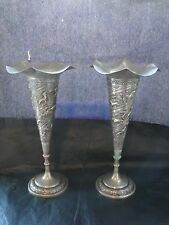 Sterling Silver Antique Asian Vases, Tall, Chased And Engraved Mad Circa 1880