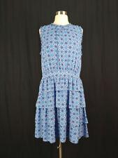 Banana Republic 14 Blue Print Sleeveless Tiered Dress