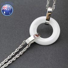 New Gift 18K White Gold Filled 20MM White Ceramic Ring Hoop Chain Bracelet 19CM