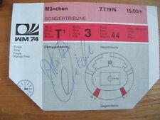 WM 1974*Finale Deutschland : Niederlande*Eintrittskarte*Sondertribüne*Autogramm