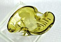 Rare Vintage 1940's-50's Signed Chalet Olive Green Art Glass Bowl