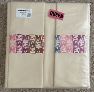 MISSONI Home Sateen LEA JESSICA QUEEN Sheet Set Embroidered Logo color 156