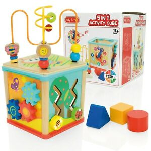 Milly & Ted 5 in 1 Wooden Toy Activity Cube - Baby/Toddler Shape Sorter Centre