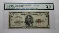 $5 1929 Port Deposit Maryland MD National Currency Bank Note Bill #1211 VF25 PMG