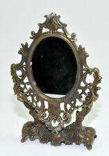 Vtg Victorian French Brass Oval Ornate Swivel Mini Mirror Frame