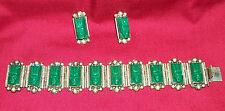 Vintage Jade Green Face Mexican Bracelet Earrings Silver Aztec Costume Jewelry 6