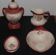 Vintage Rockingham, England, Ceramic Pink Blush/Pink Rose 4 Piece Bathroom Set,