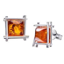 MATERIA Bernstein Ohrstecker Silber 925 Damen orange rhodiniert + Schmuckbox