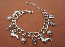 Dachshund Weiner Dog Charm Bracelet with Freshwater Pearls & Swarvoski Crystals