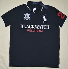 $98 New XXL 2XL POLO RALPH LAUREN Men Black Watch Custom Fit Big pony polo shirt