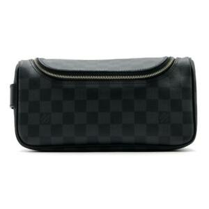 Authentic LOUIS VUITTON Toiletry Pouch N47625 Damier Graphite Black Used LV