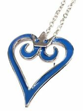 Kingdom Hearts Blue Cutout Heart Metal Pendant Necklace