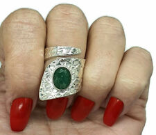 Emerald Ring, Adjustable, Sterling Silver, wrap around ring, May Birthstone