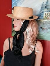 VINTAGE 20TH CENTURY STRAW LADIES BOATER HAT SCARF SUN WIDE BRIM 1940'S BOATING