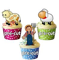 Kids Farm Tractor Animals PRECUT Edible Cupcake Toppers Cake Decorations 36 Pack
