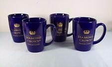 Lot 4 Diamond Crown Premium Cigars Gold on Cobalt Blue Coffee Mug Set - NEW
