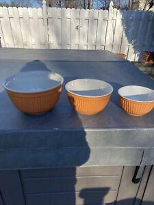 Williams Sonoma Burnt Orange Nesting Ceramic Mixing Bowls Set of 3 Paneled HTF!