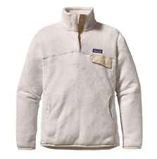 Patagonia Womens Fleece Pullover Sz L Re-Tool Snap-T Raw Beige Slim Fit 25442