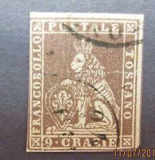 ita35 Italian stamp Tuscany Scott 8, F-VF used, Cat. $375.00