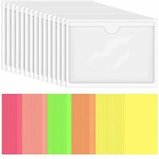 Skppc 40 Pack Self Adhesive Index Card Holder Clear Plastic Library Pockets Top