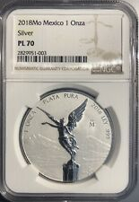 2018 Mo Mexico Silver 1 Onza Libertad NGC REVERSE PROOF PL 70  (PROOF LIKE)