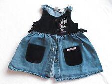 Mickey & Co Girl's Blue Jean Velvet Sundresses Jumper Blue and Black 4T