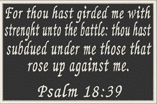 PSALM 18:39 Iron-On Patch Christian Morale Military Emblem