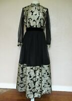 Vintage 1960s Evening Gown Maxi Dress black gold brocade chiffon long sleeved M