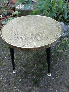 Vintage Engraved  Brass & Round Wooden Coffee Table Dansette Legs 38cm Diam