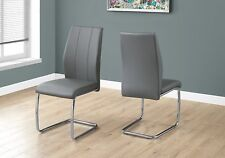 """Monarch Specialties I1077 2-Piece Leather Look Dining Chair 39"""" in Chrome /Grey"""