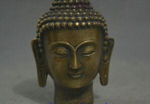Old Tibet Buddhism Bronze Sakyamuni Buddha Head Bust Statue Figurine