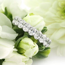 3.80 Ct Oval Cut Diamond Wedding Eternity Band 14K Real White Gold Ring Size M N