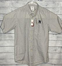 Antigua New York Yankees Short Sleeve Plaid Grey White MLB Sport Shirt NWT Large