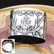 "Antique French Sterling Silver Napkin Ring, Ornate Bow & Ribbon, ""EM"" Monogram"