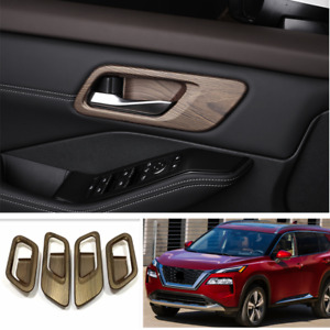 For Nissan Rogue 2021 2022 Wood Grain Interior Door Handle Bowl Cover Trim