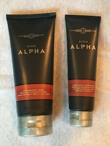 Avon Alpha For Men 2 Pc Set Hair & Body Wash After Shave Conditioner Ships Free