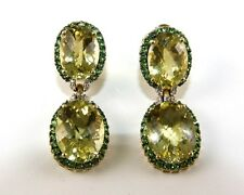 Oval Yellow Topaz & Tsavorite Gemstone Drop Earrings 14K Yellow Gold 30.00Ct